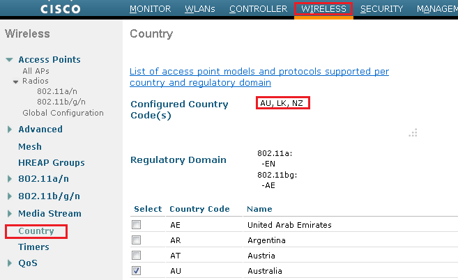 Configuring Country Codes on WLC | mrn-cciew