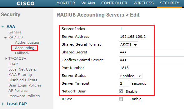 Configuring RADIUS on WLC | mrn-cciew