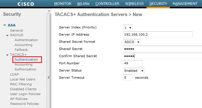 Configuring TACACS on WLC | mrn-cciew