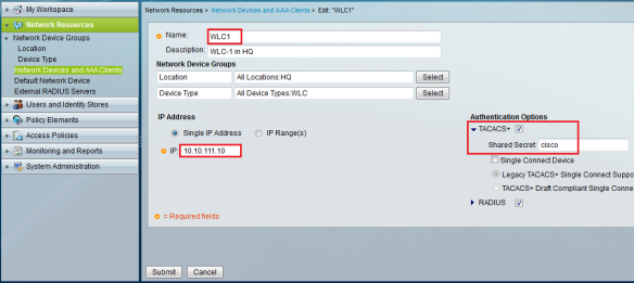 Configuring TACACS on WLC   mrn-cciew