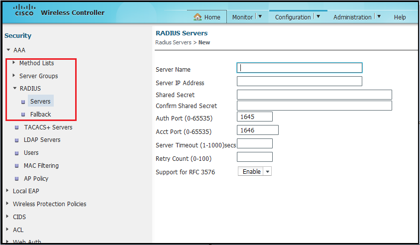 Configuring RADIUS on 5760 | mrn-cciew